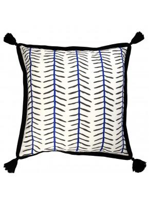Masaï Pompons noirs Broderie Bleu Cobalt