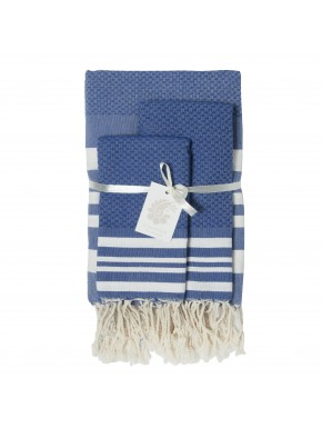 Hamptons Bathroom SET - Greek Blue / White