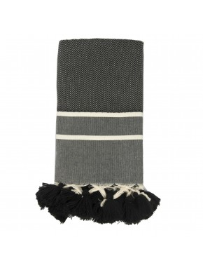 Stockholm Pompoms - Small Throw - Black