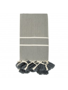 Stockholm Pompoms - Small Throw - Medium Grey