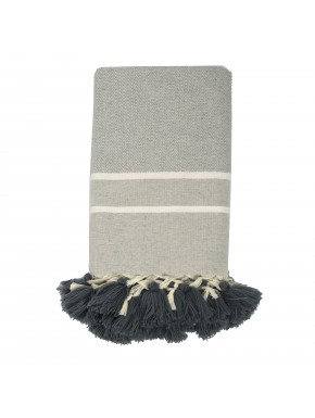 Stockholm Pompoms - Small Throw - Pearl Grey