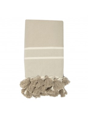 Stockholm Pompoms - Small Throw - Light Taupe