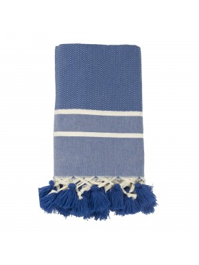 Stockholm Pompoms - Small Throw - Greek Blue