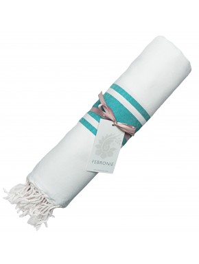 Fouta Traditionnelle - Blanc & Vert Turquoise
