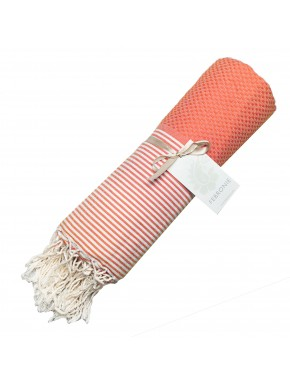 Fouta Honeycomb - Orange Coral