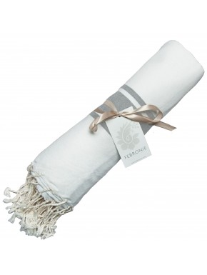 Fouta Traditionnelle - Blanc & Gris Perle