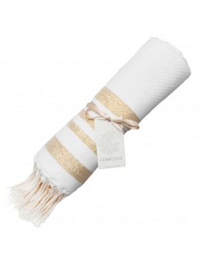 Fouta Honeycomb Hamptons - White & Gold