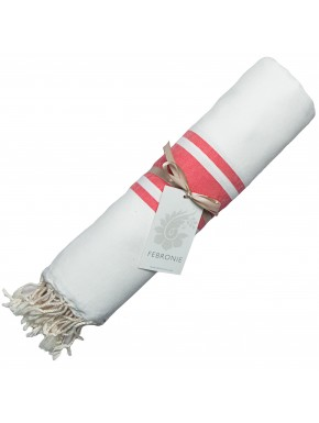 Fouta Traditionnelle - Blanc & Rouge