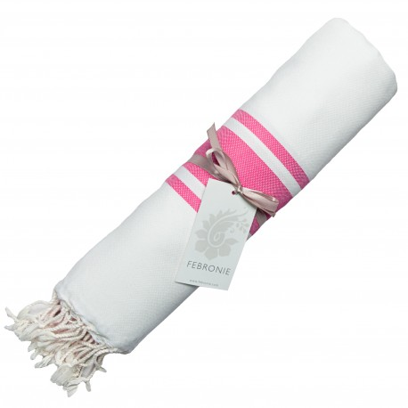 Fouta Traditionnelle - Blanc & Rose Fuschia
