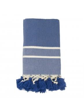 Stockholm Pompons - Petit Plaid - Bleu Grec