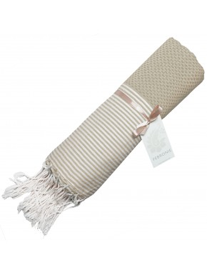 Fouta Nid d'abeille Ibiza - Rayures fines - Taupe Clair