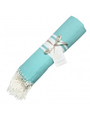 Fouta Traditional - Turquoise Green & White